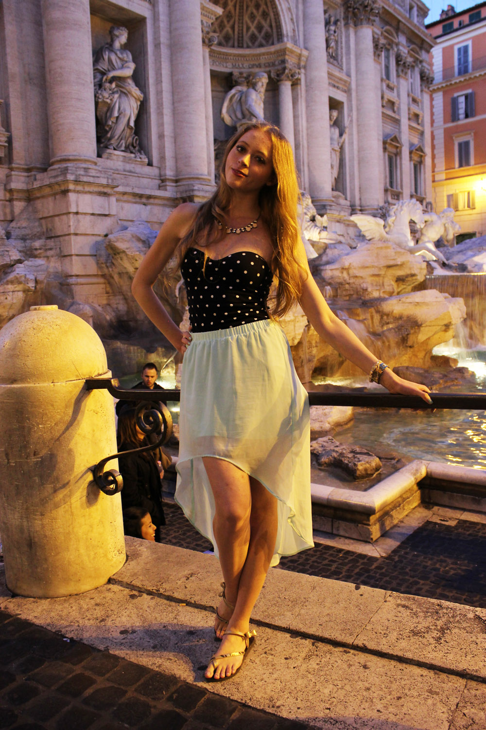 mint high low skirt trevi fountain