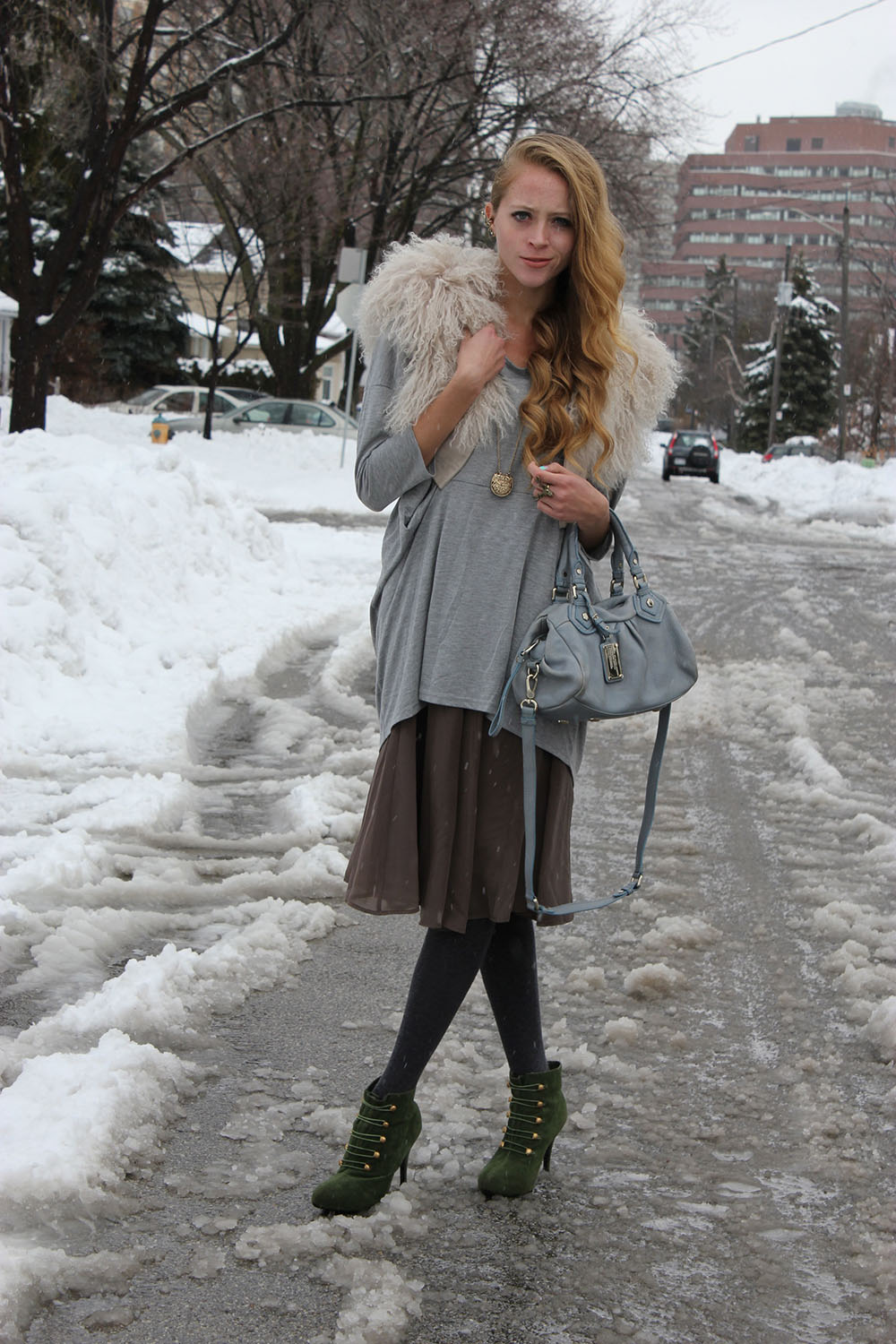 winter outfit skirt fur vest green booties