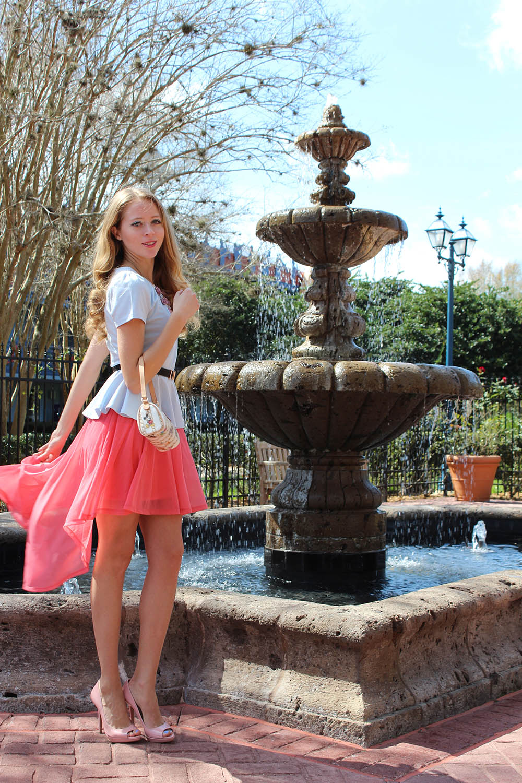 pink skirt and prada heels