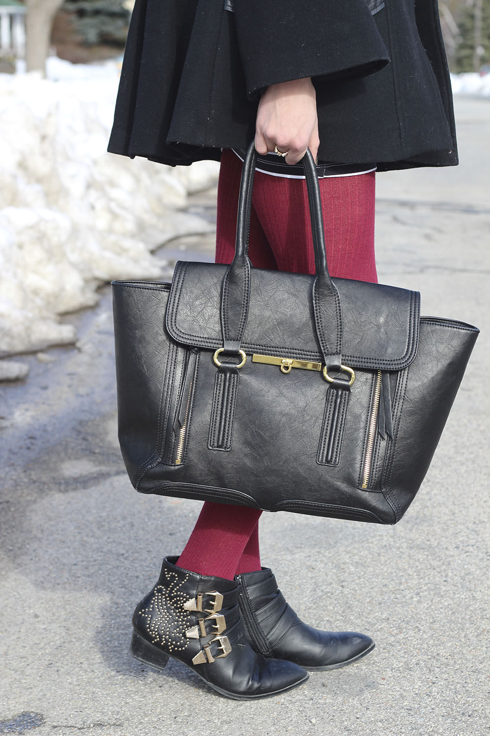 black and gold booties chloe susanna 3.1 phillip lim bag