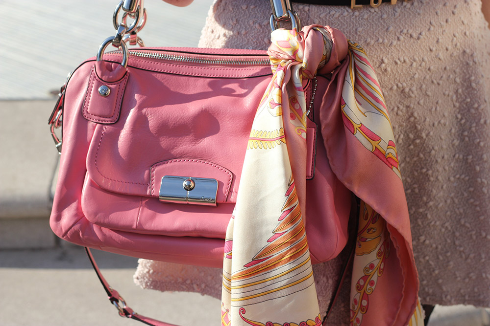 coral bag and ferragamo scarf