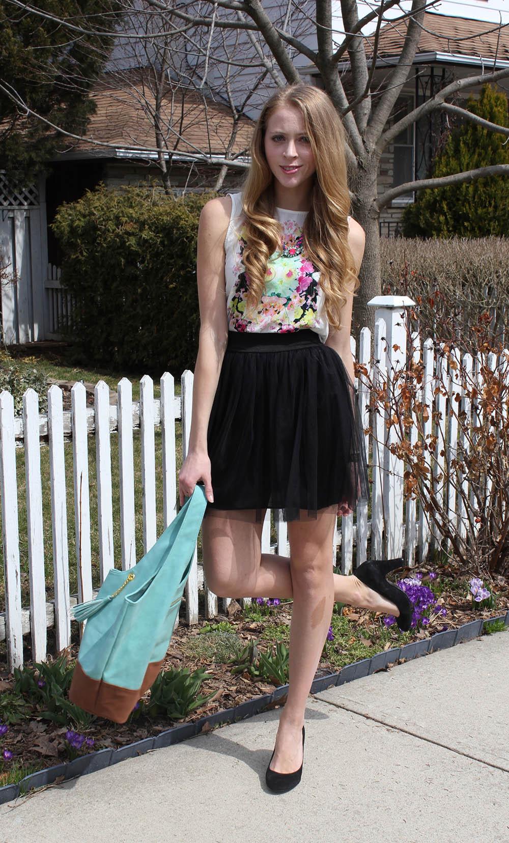 floral top black tutu