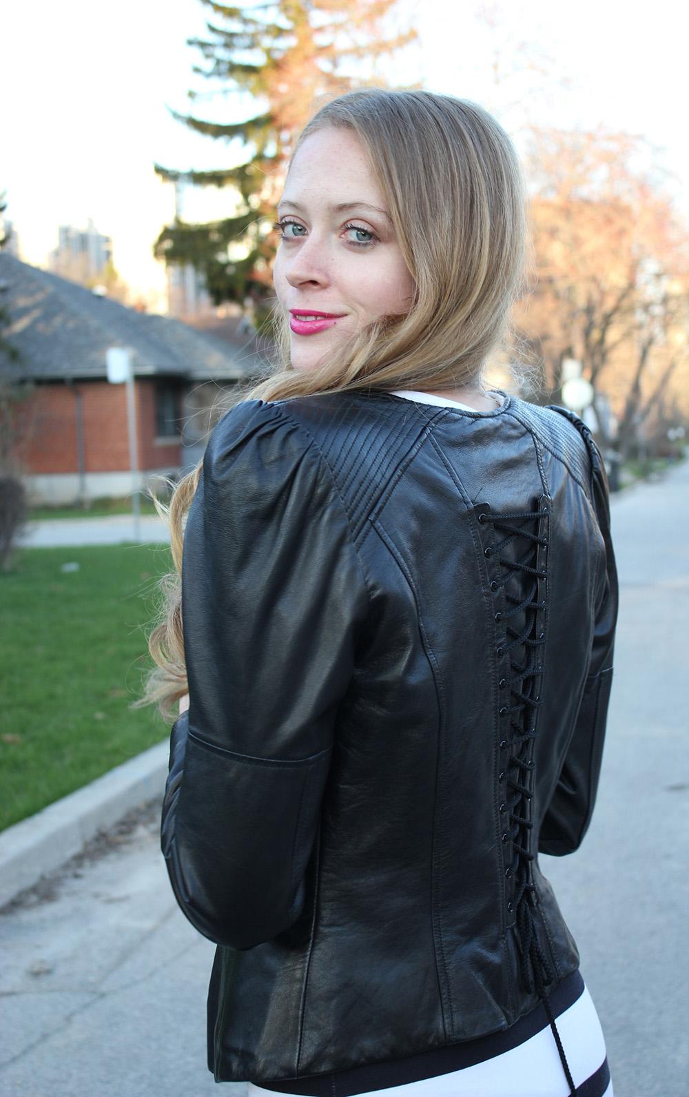 leather motorcycle jacket with corset back