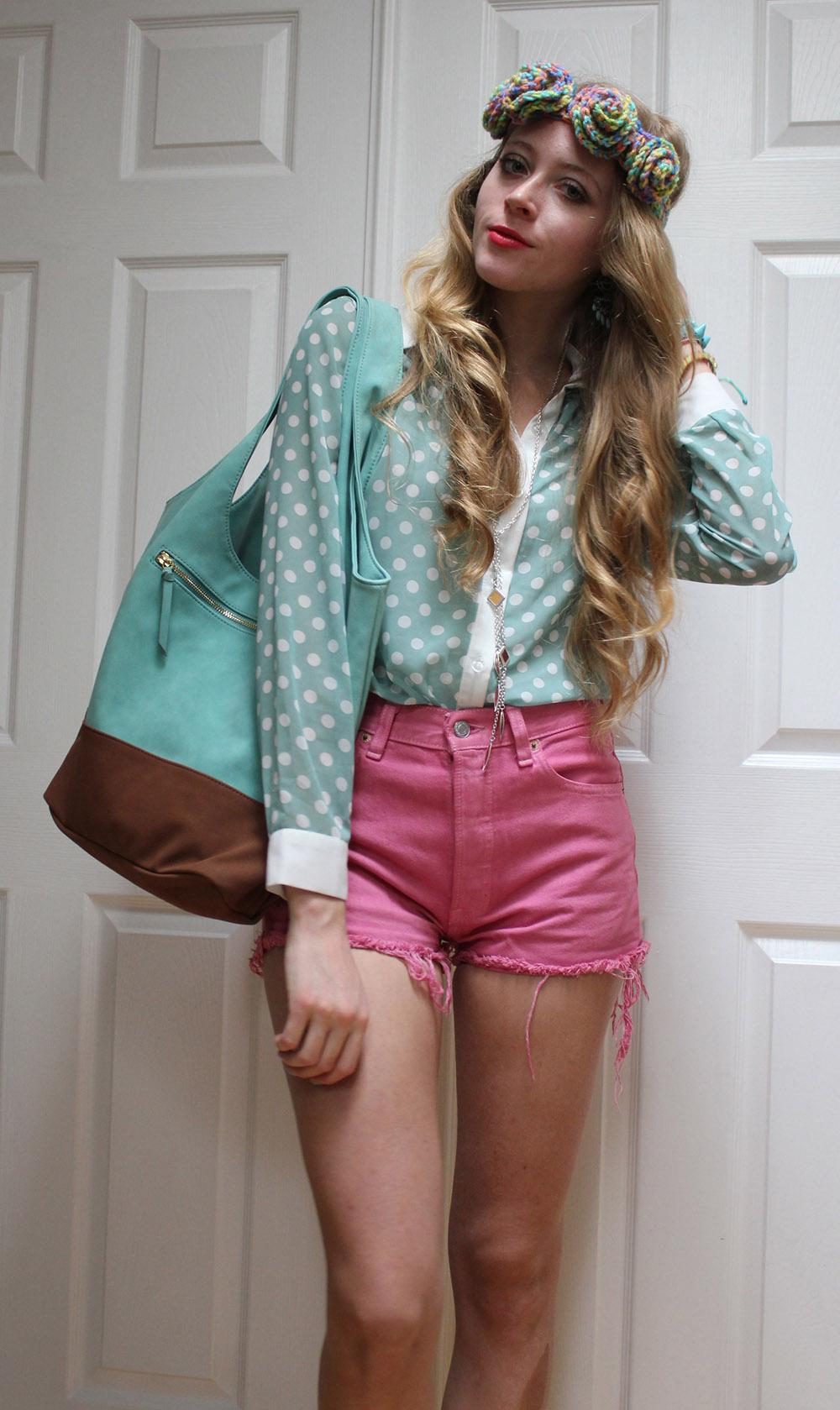 polka dot blouse levis cut offs