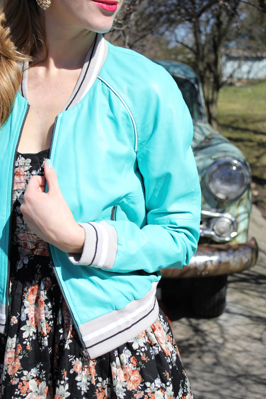 teal leather varsity jacket