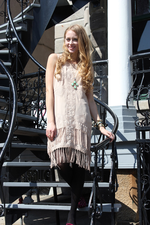 urban outfitters beige fringe dress
