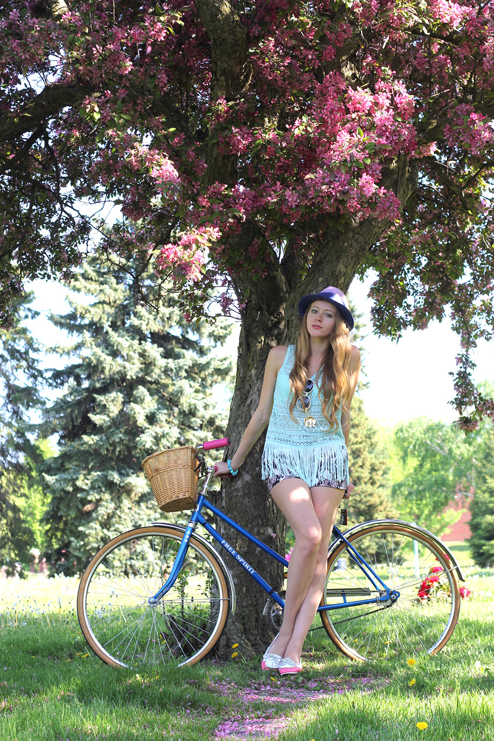 blue vintage bicycle