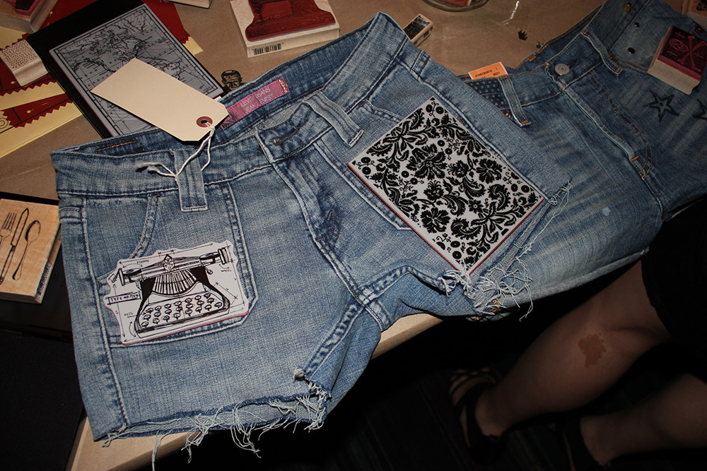 diy stamped levis cut offs