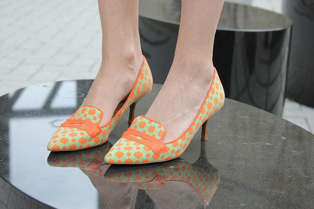 joe fresh green and orange loafers