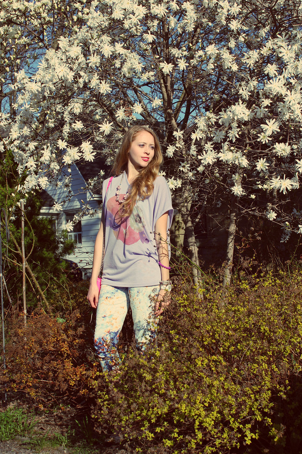 magnolias floral pants and shirt