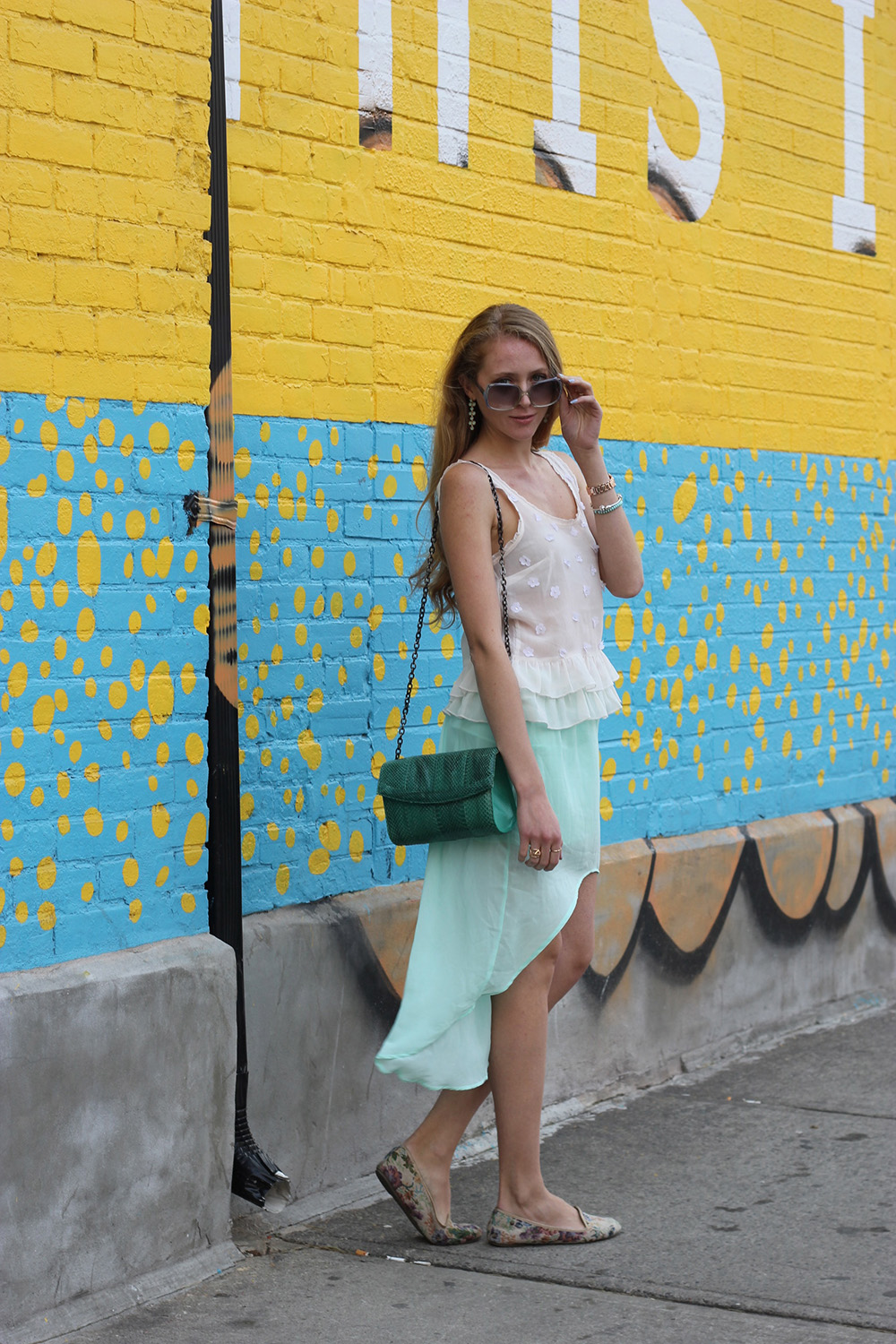 white top chiffon mint skirt