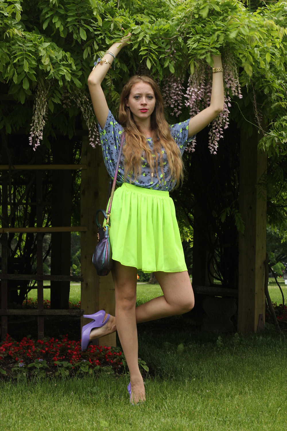neon green and purple