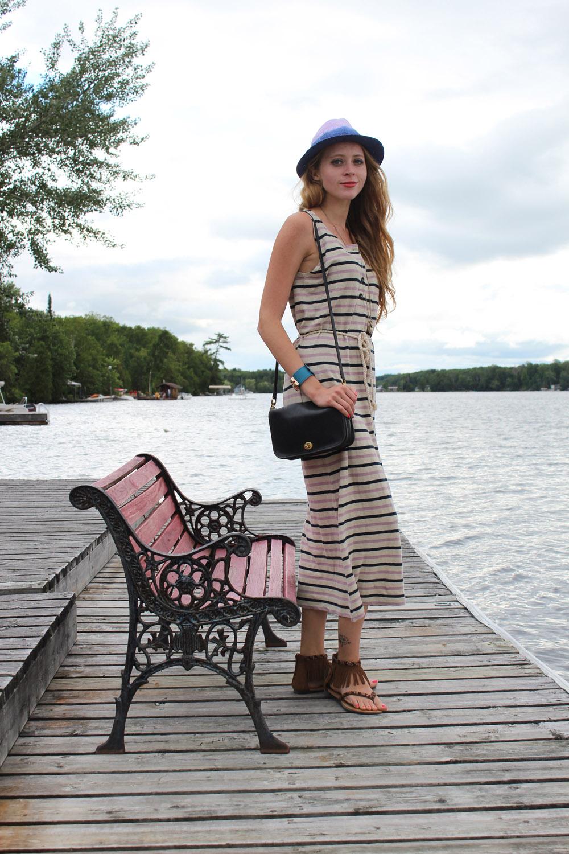 nautical striped maxi dress