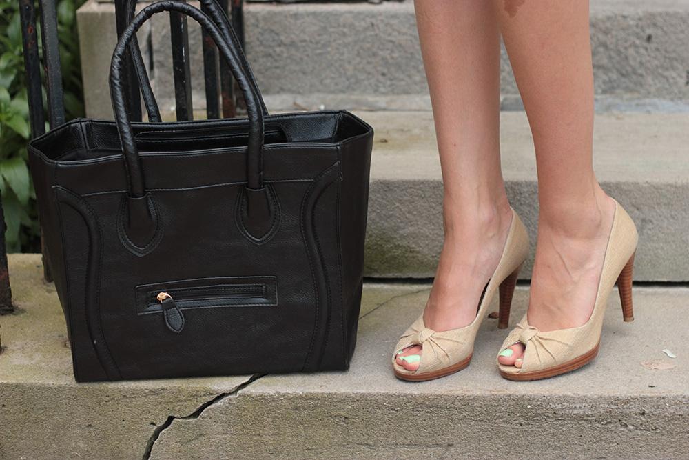 celine tote, stuart weitzman shoes, nude heels
