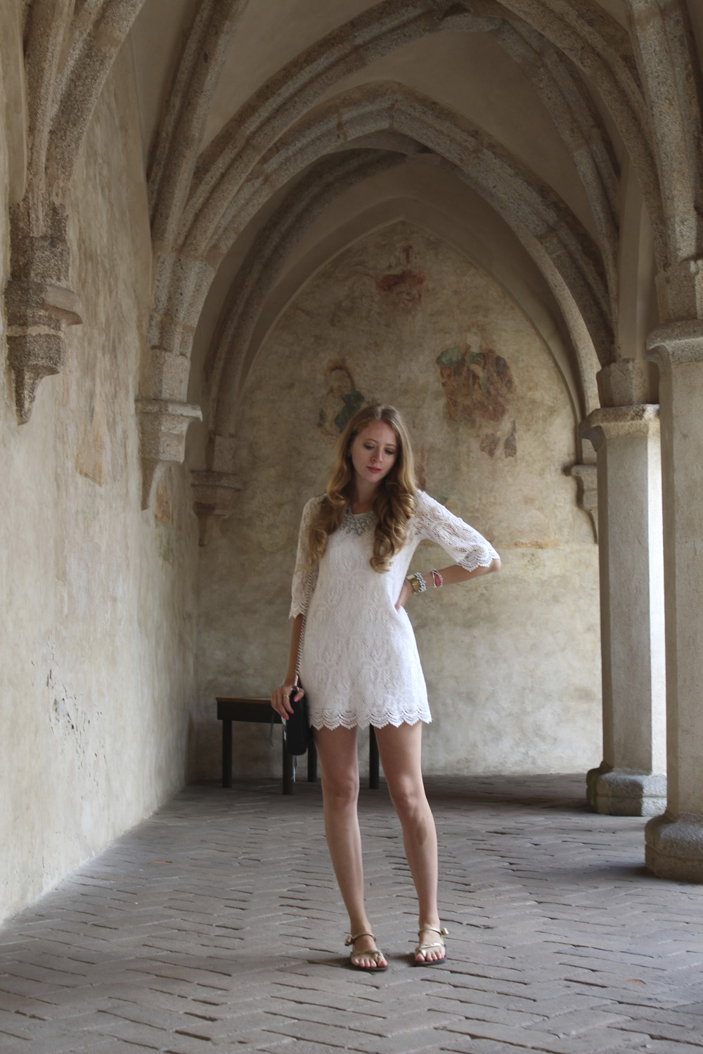 midieval arches white dress