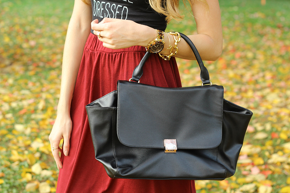 burgundy skirt black purse