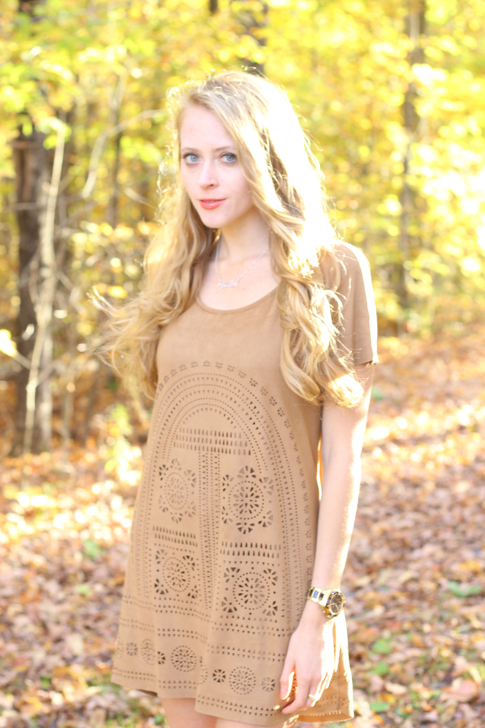 laser cut suede dress