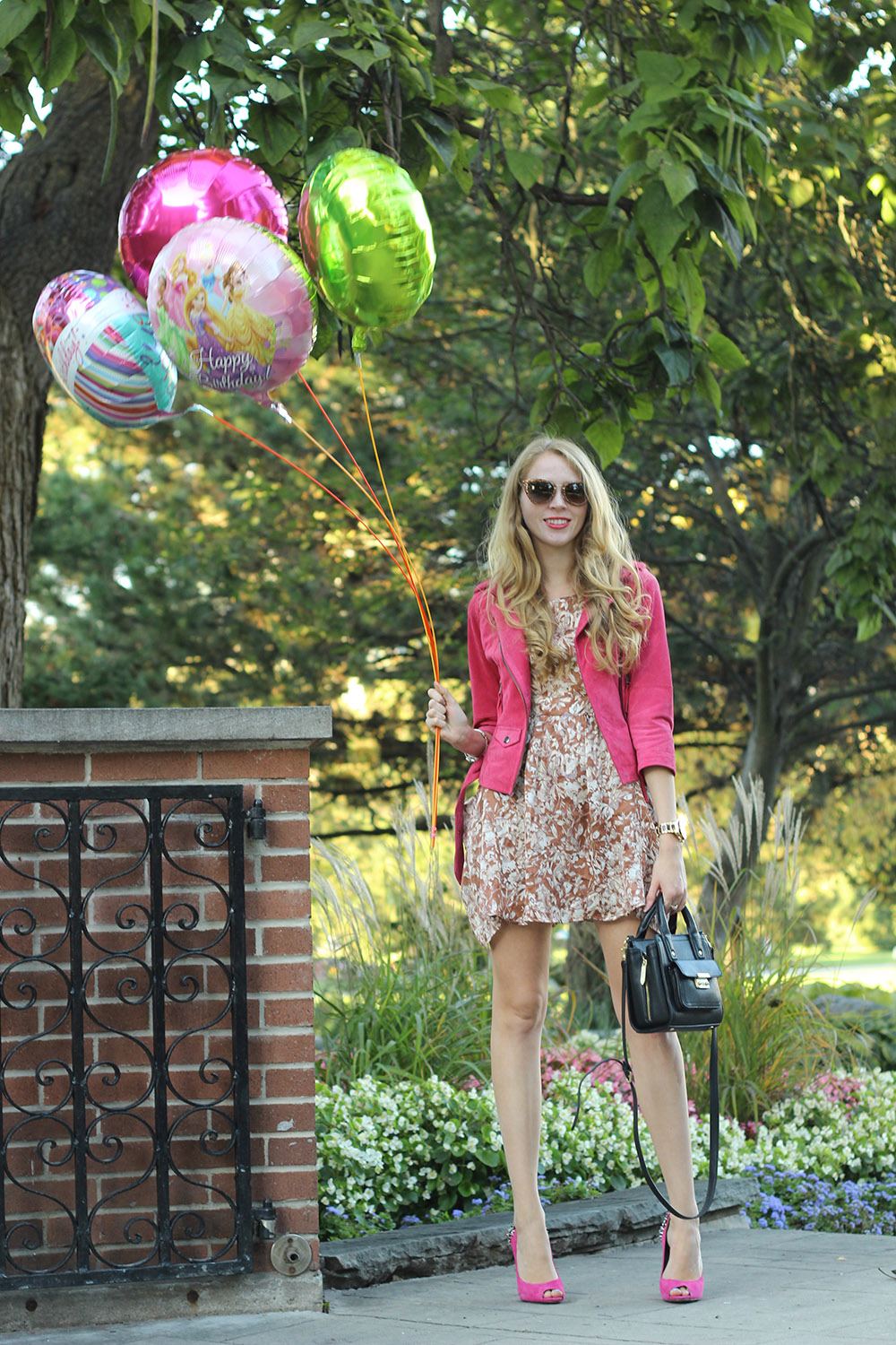 pink jacket and shoes balloons