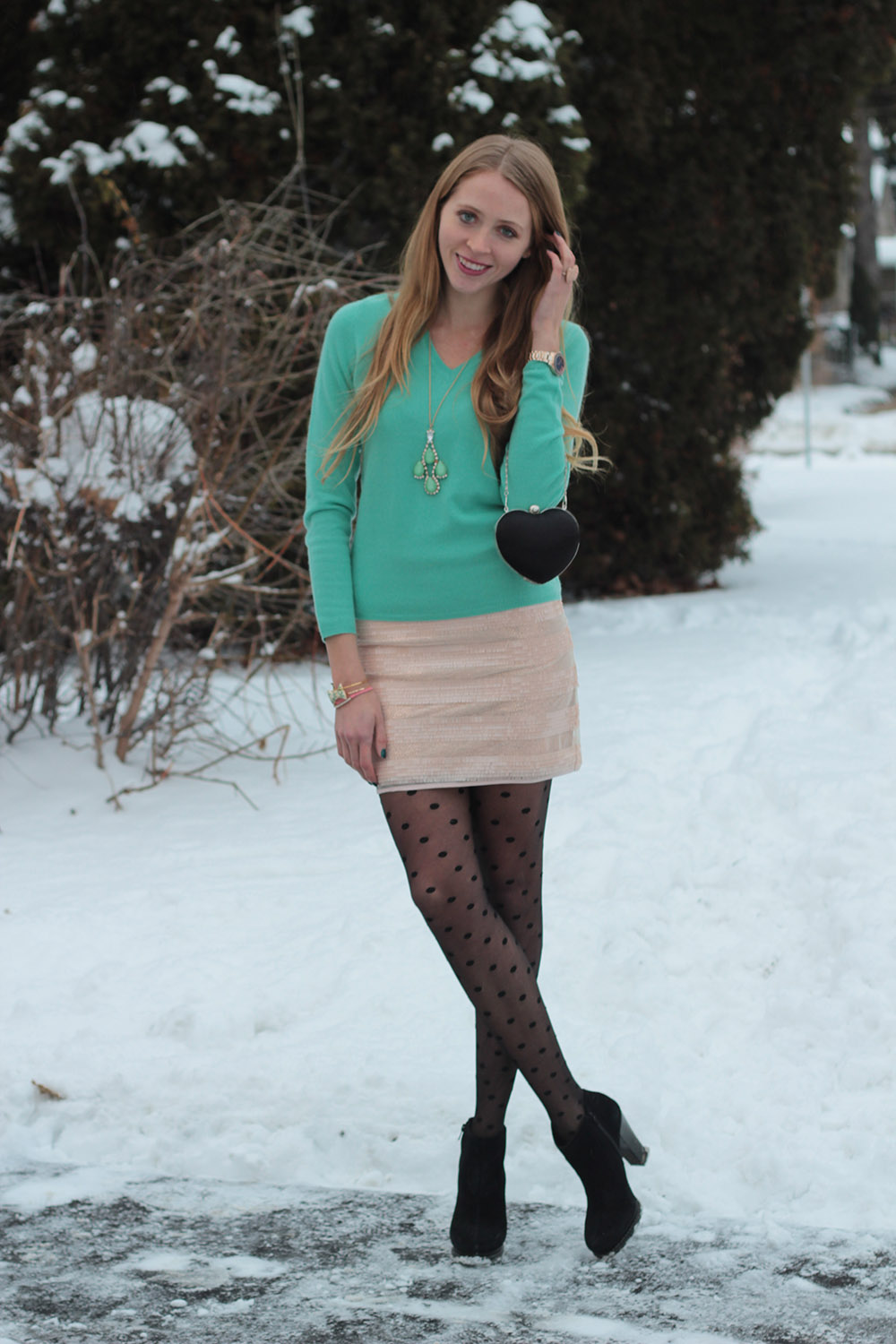 dotted tights cashmere sweater