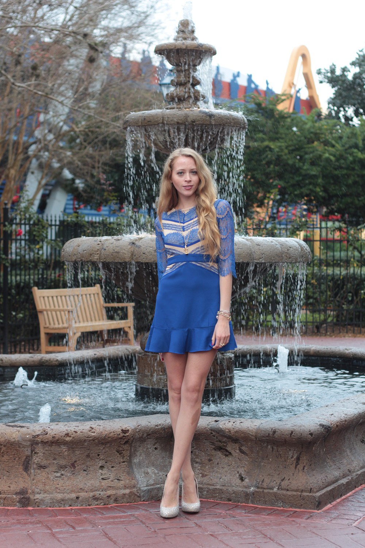 blue lace dress ruffles