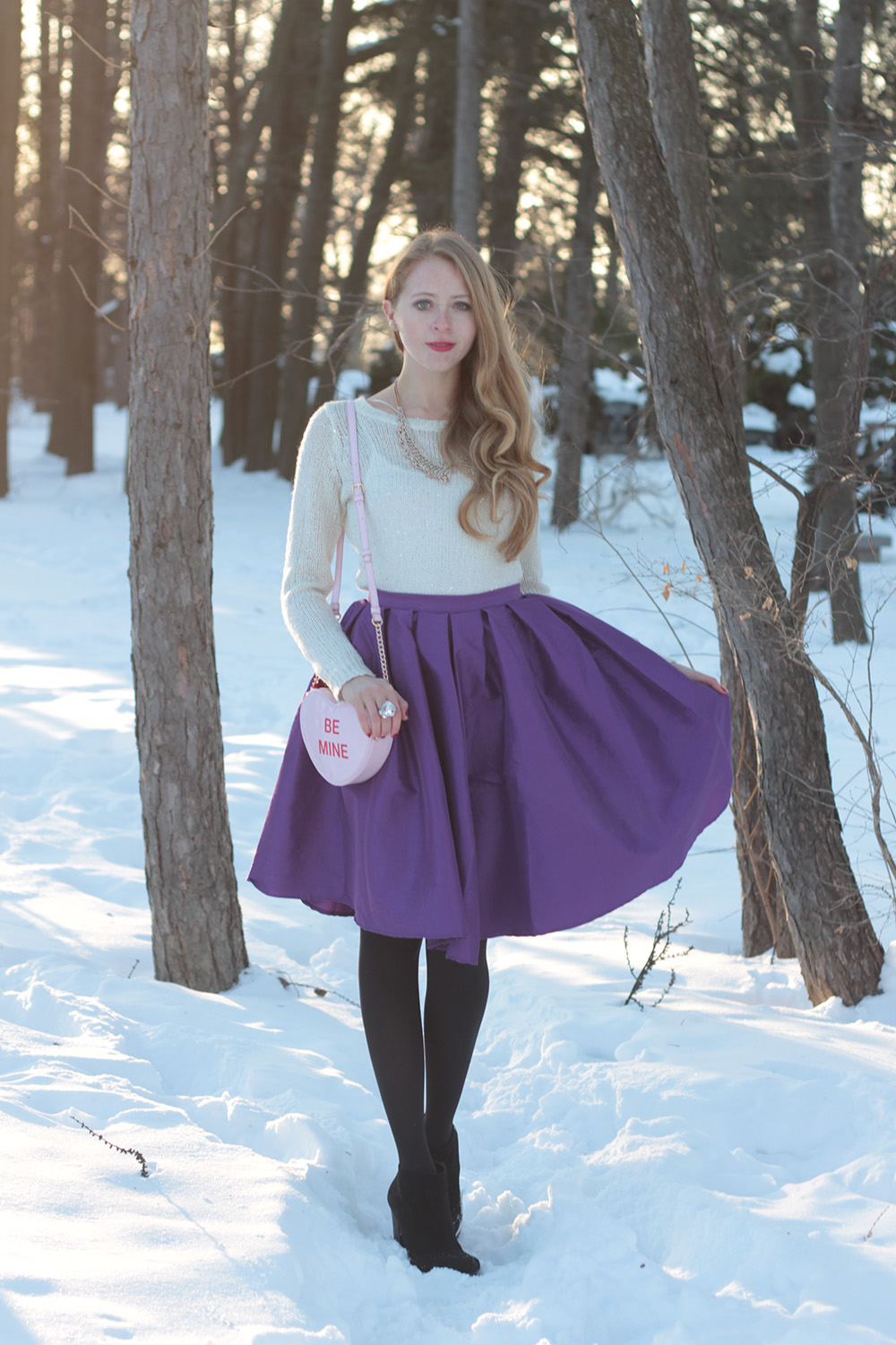 chicwish midi skirt purple