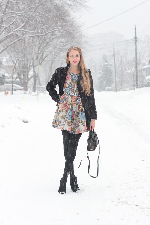 floral dress and black coat