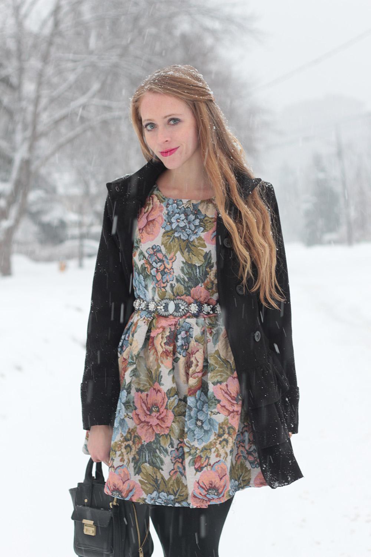 floral dress black coat