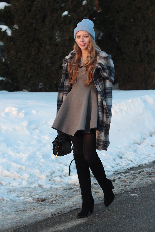grey dress plaid coat