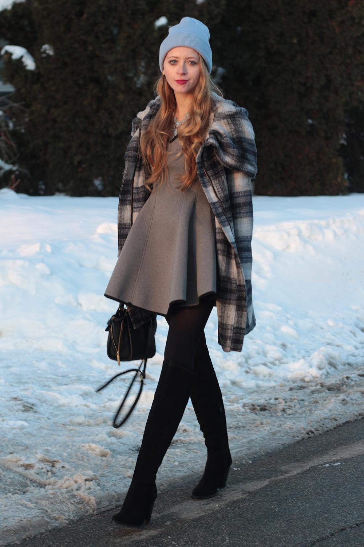 grey dress plaid zara coat
