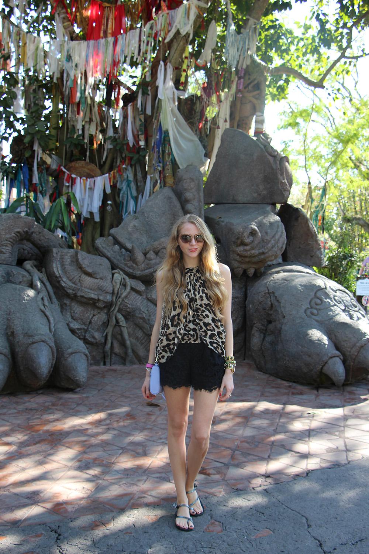 leopard top black lace shorts