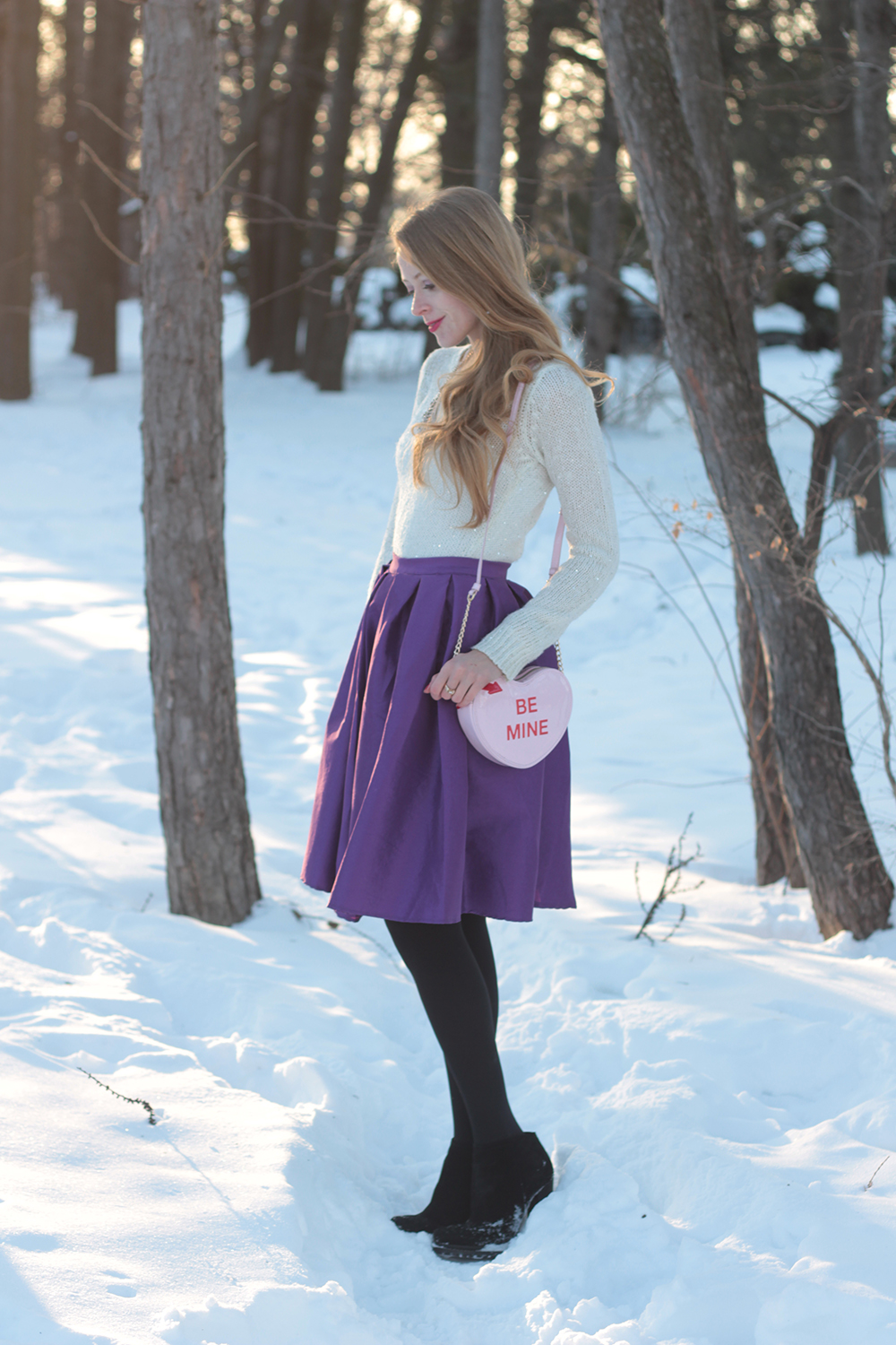 purple midi skirt chicwish