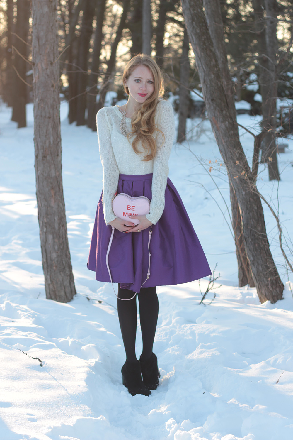 purple midi skirt heart clutch