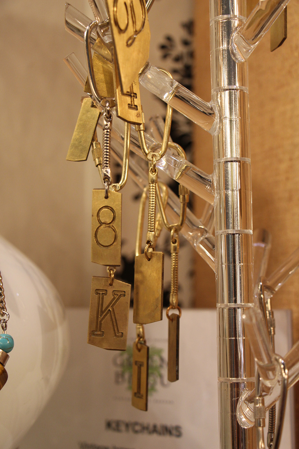 brass initial key chains