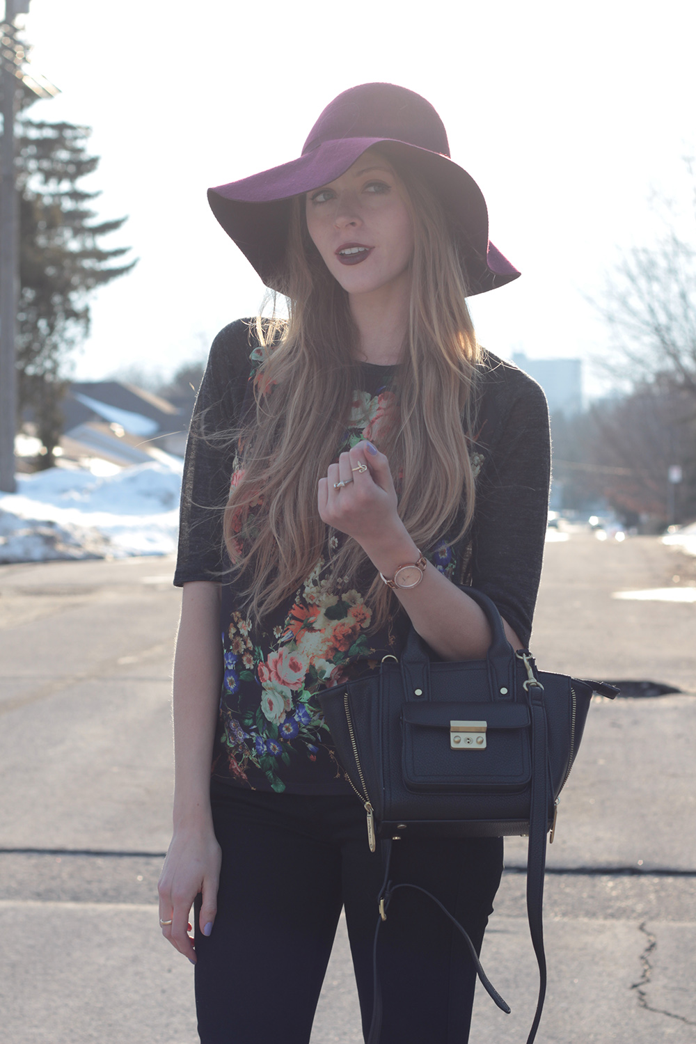 burgundy wool hat floral shirt