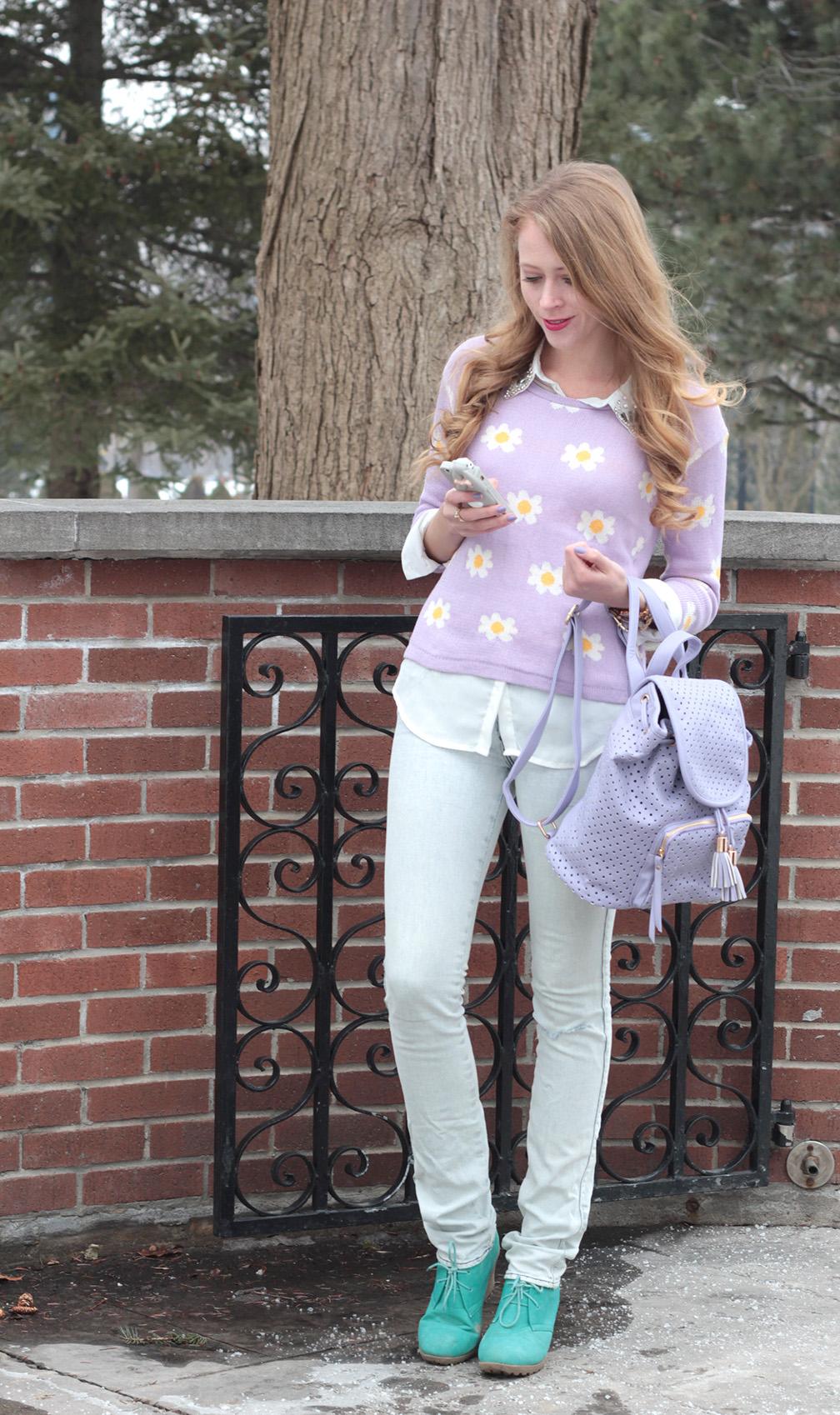 daisy print sweater purple backpack