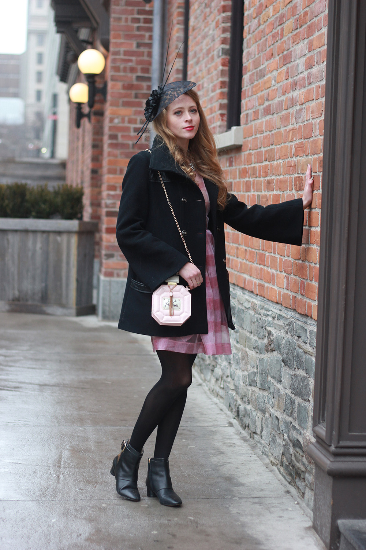 mackage coat and fascinator