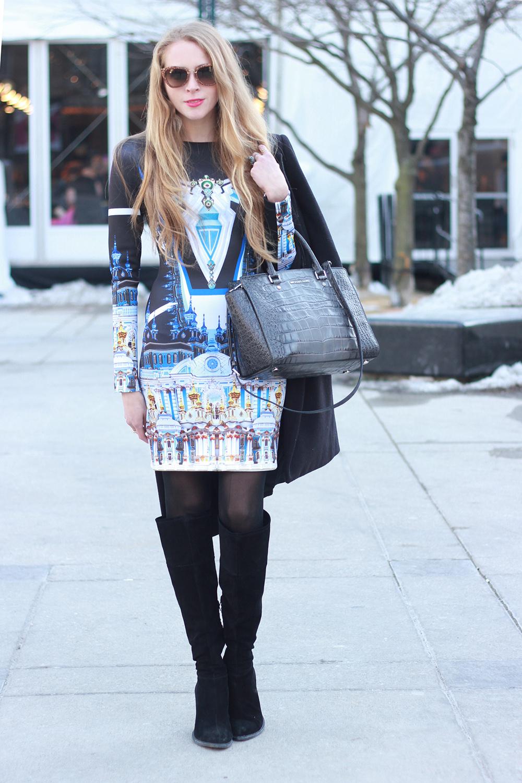neoprene printed dress clover canyon wmcfw streetstyle