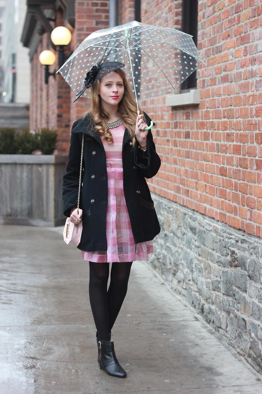 perfume purse mackage coat polka dot umbrella