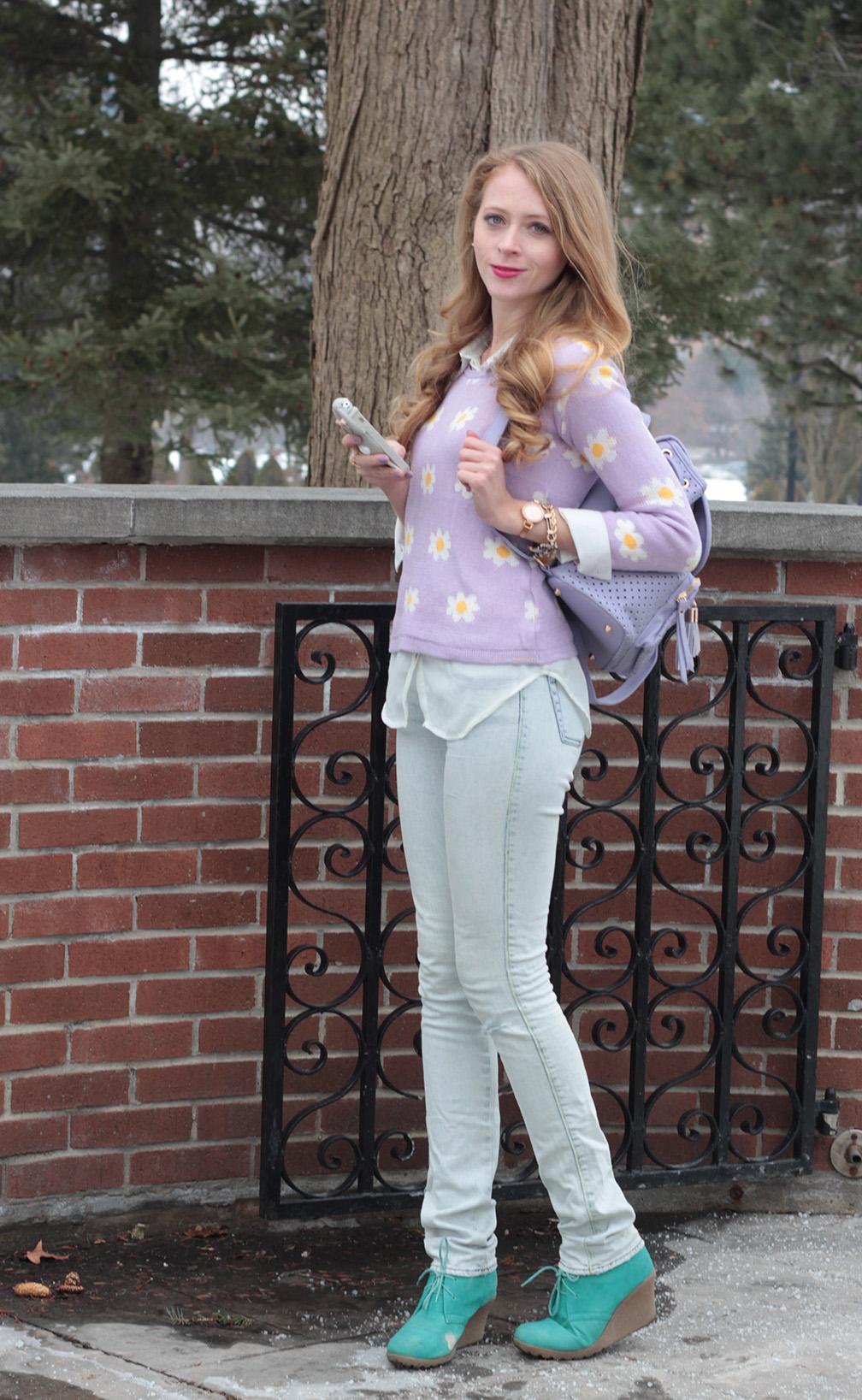 purple daisy knit sweater light jeans