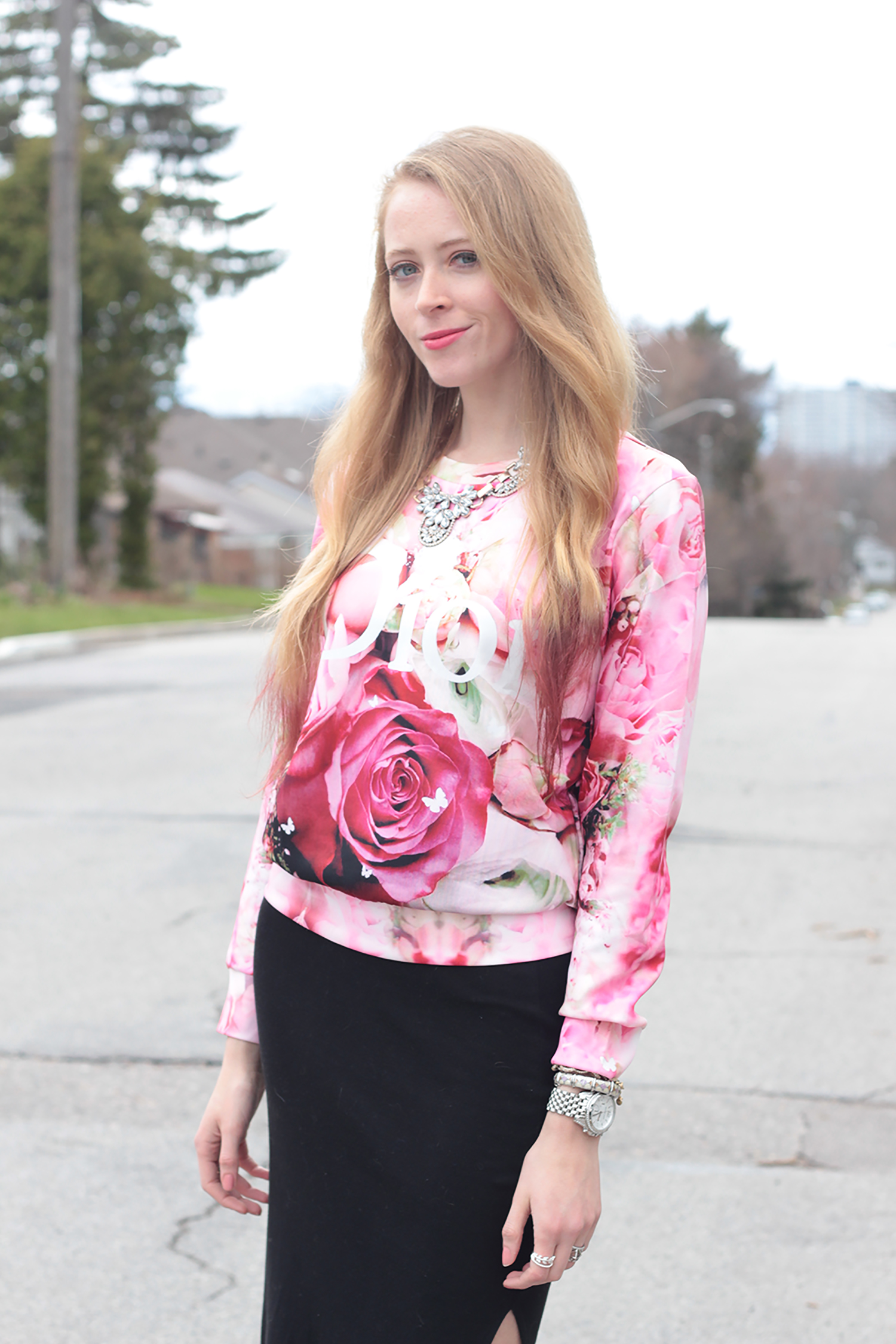 dior rose sweatshirt sheinside