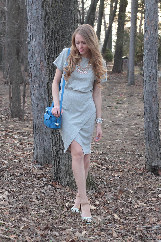 grey foldover dress