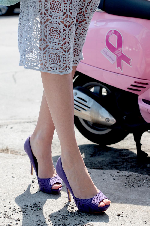 purple lace zara skirt purple heels
