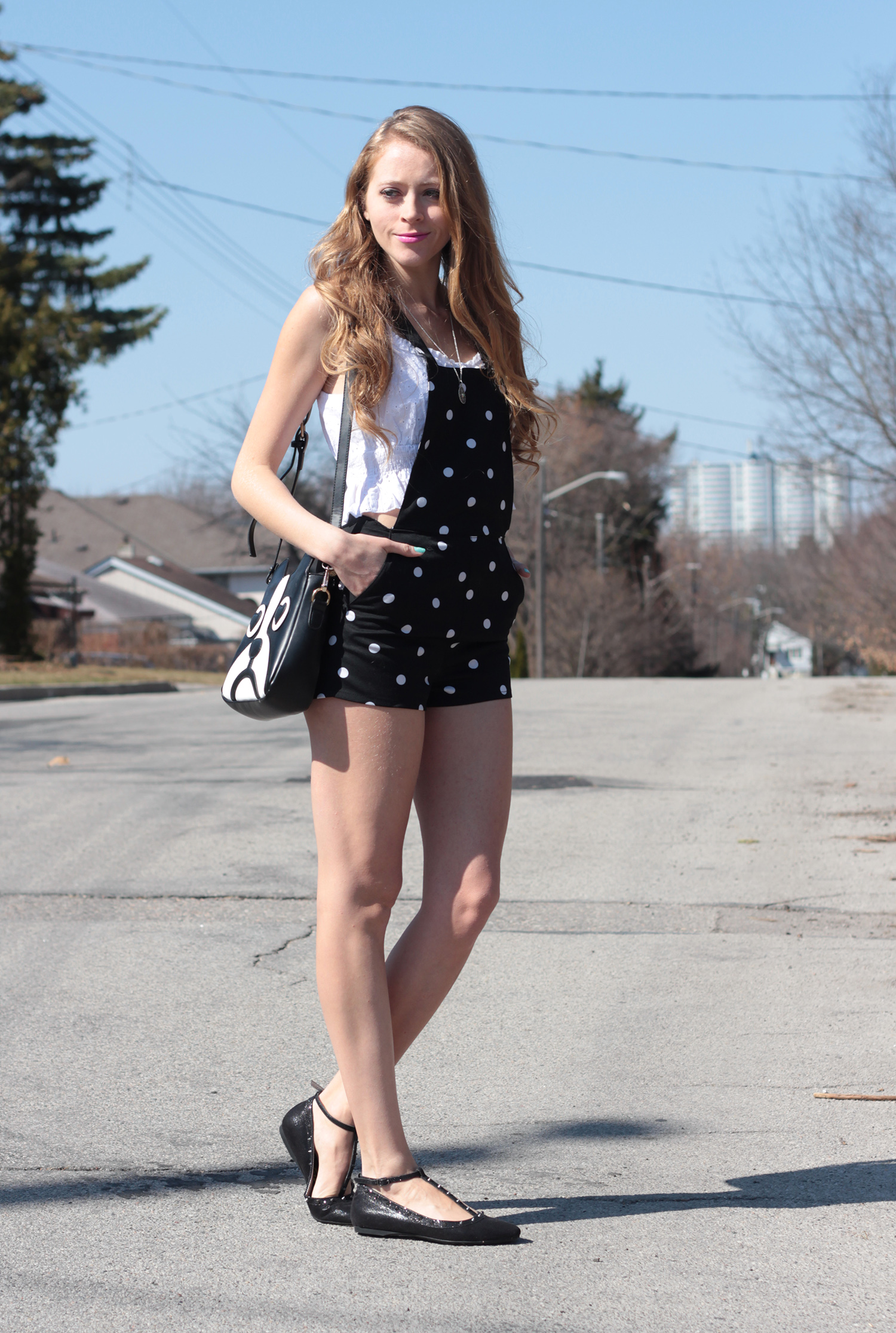 black and white polkadot short overalls