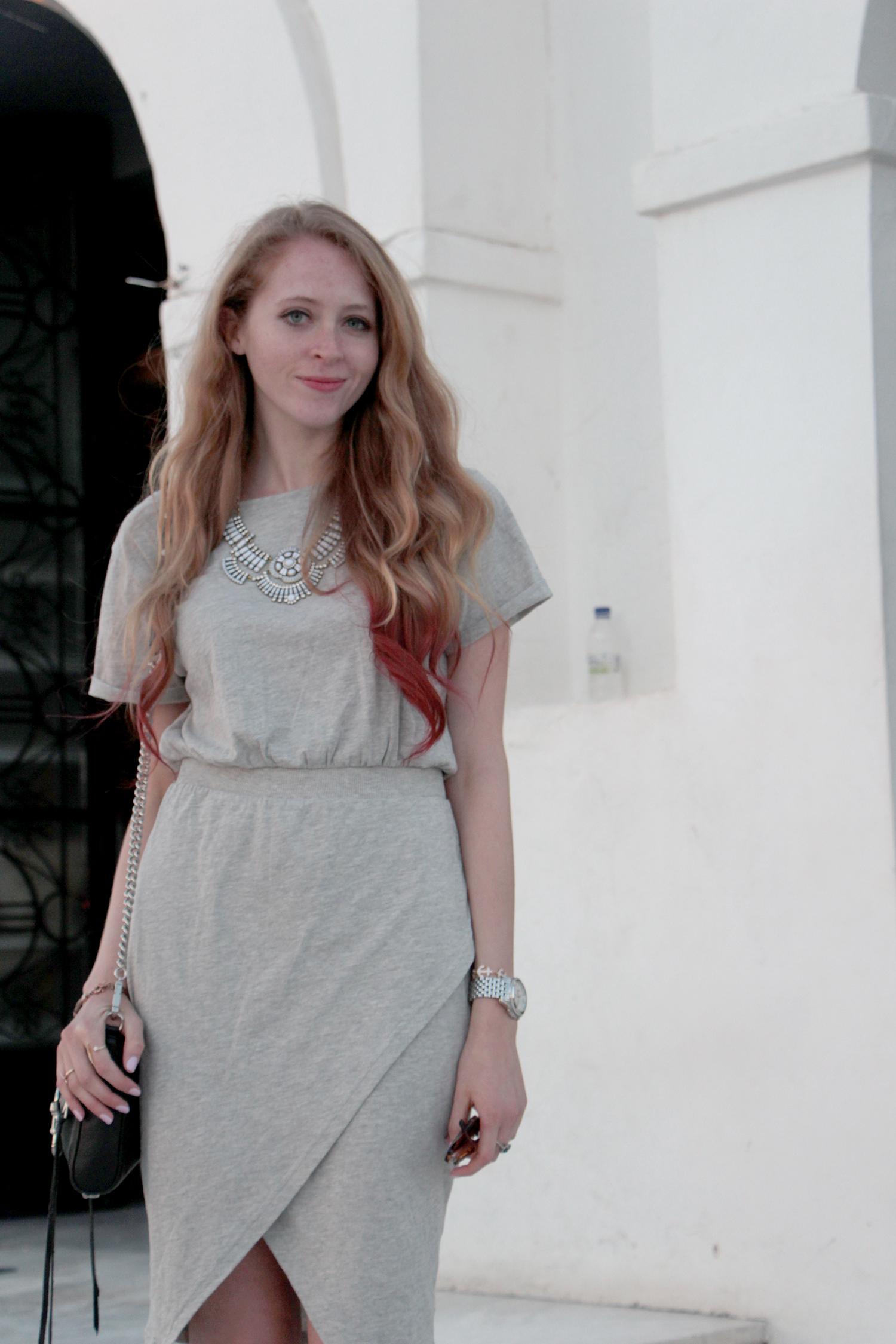 grey cotton asymmetrical foldover dress