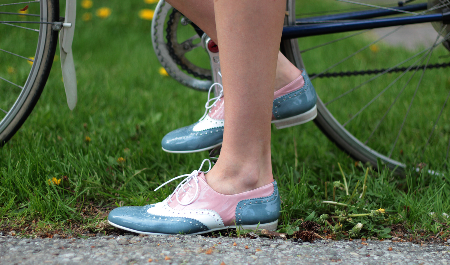 pastel leather brogue shoes