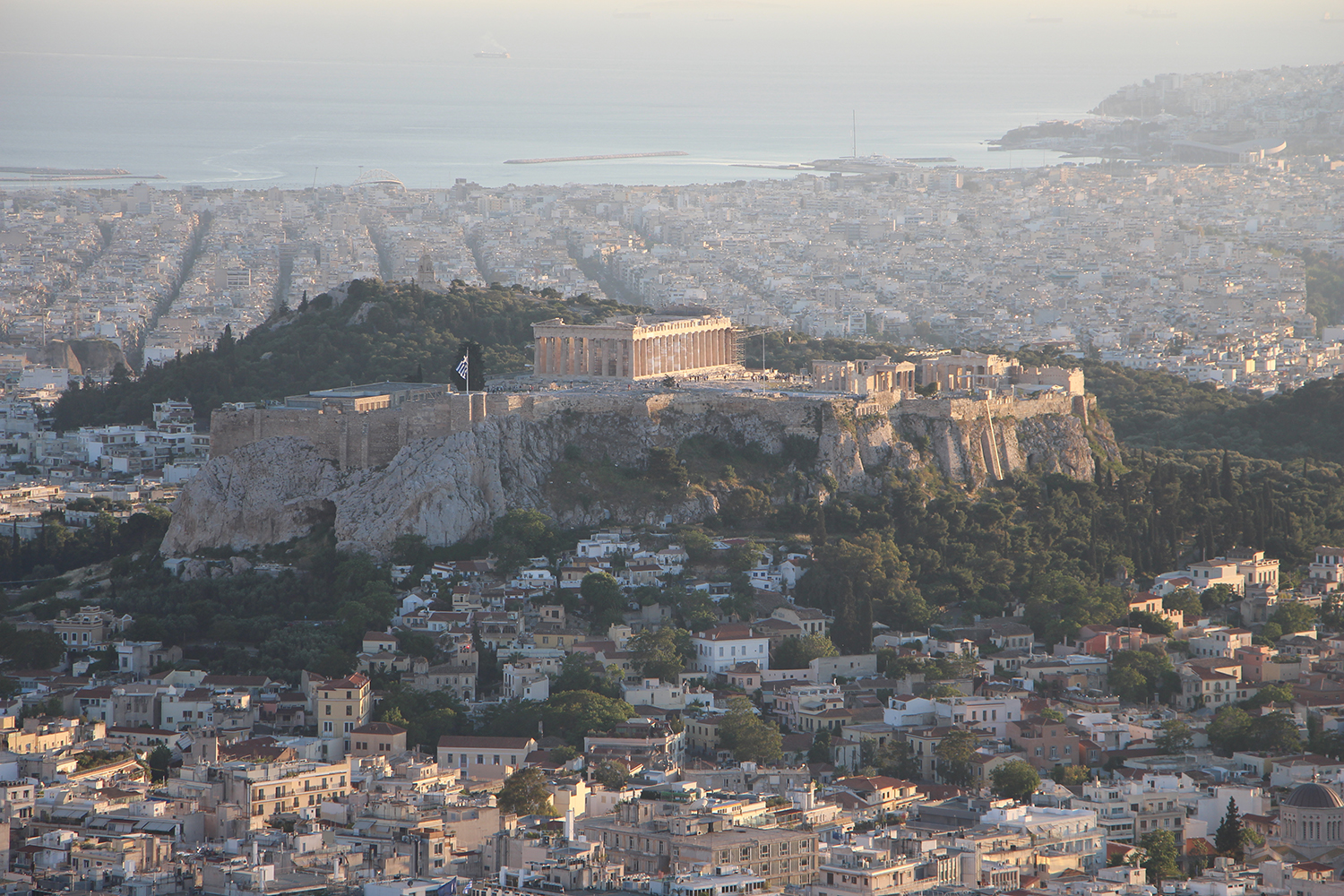 view of acropolis from mount lycabettus