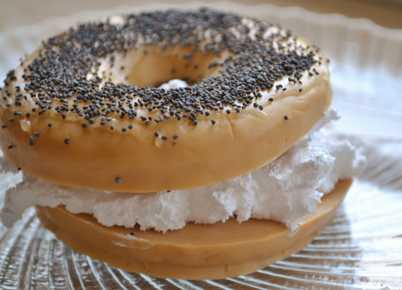 bagel with cream cheese food soap gift idea