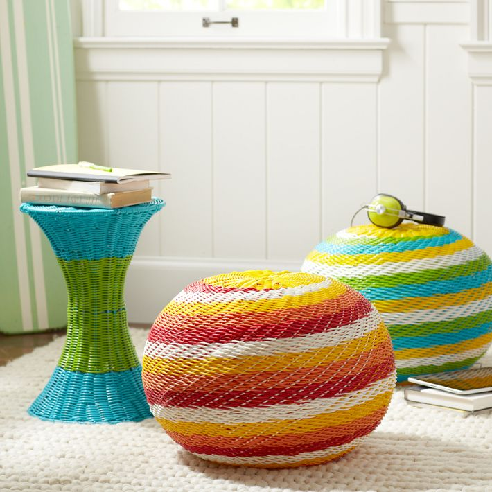 how to decorate dorm room with color pop woven side table pottery barn dorm