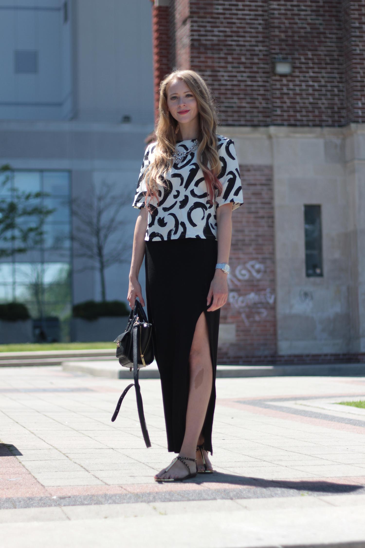 forever 21 maxi skirt zara brushstroke shirt