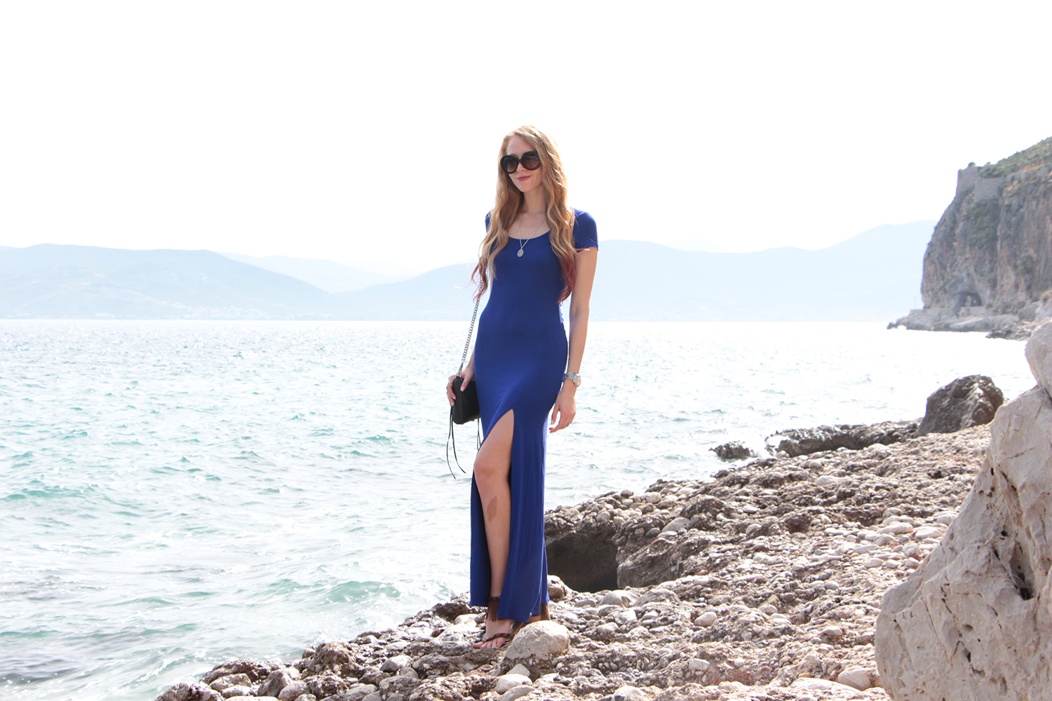 nafplio greece blue maxi dress